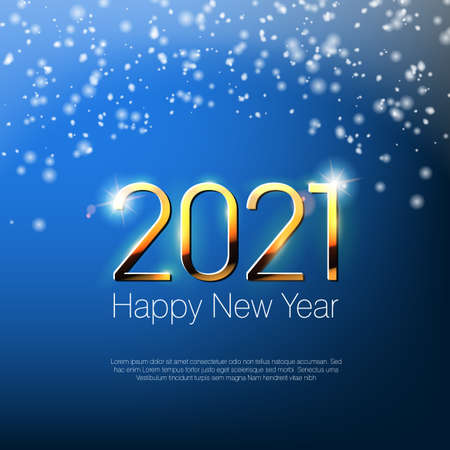 Happy New Year 2021 Snowy Greeting Card Template.  Vector 向量圖像
