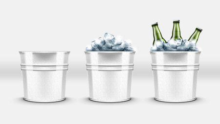 Beer Bottles In Metal Ice Bucket For Cool Drinks