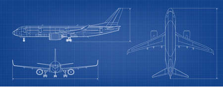 Airplane Blueprint. White Outline Aircraft On Blue Vetores