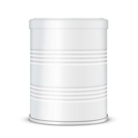 Round Ribbed White Glossy Tin Can For Baby Milk Illustration