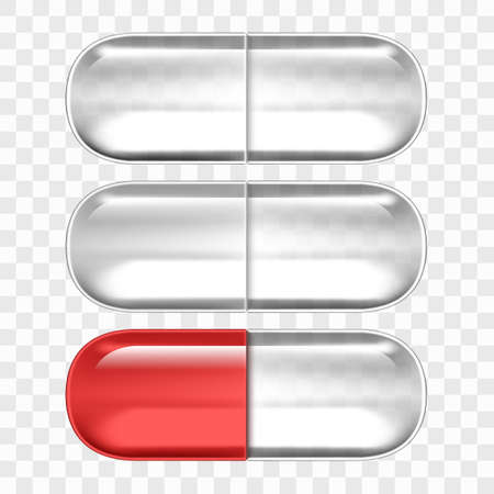 Empty Pills Capsules Isolated On Transparent Back