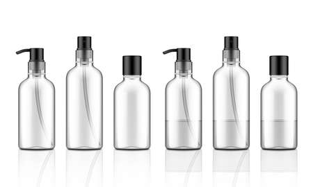3D Cosmetic Plastic Bottles. Dispenser For Shampoo
