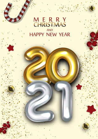 3D Gold Gel Balloons Numbers Two Thousand Twenty One. 2021 New Year Christmas Template. 向量圖像