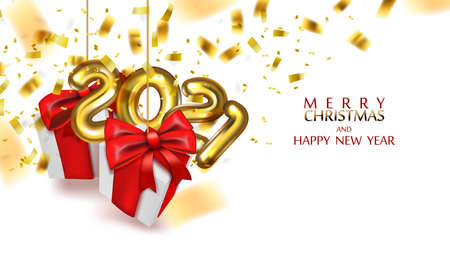 Merry Christmas And Happy New Year Background With Festive Gifts Boxes. Xmas Presents With Red Ribbon.  Vector