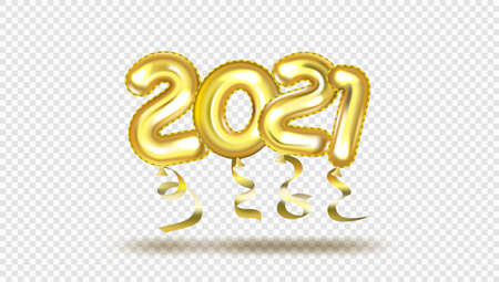 3D Gold Gel Balloons Numbers Two Thousand Twenty One. 2021 New Year Christmas Template.  Vector