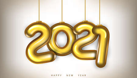 3D Gold 2021 Numbers New Year Greeting Card.  Vector