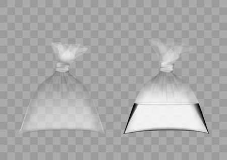 Transparent Plastic Bag Full Of Air And Water Set. 矢量图像
