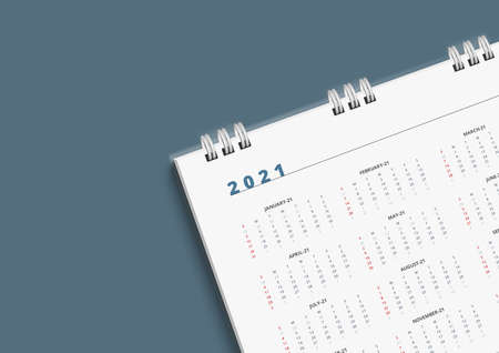 3D White Calendar 2021 Schedule Planning Copy Space Template. Top View . Иллюстрация