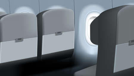 3D Without Passenger Airplane Comfortable Seat.