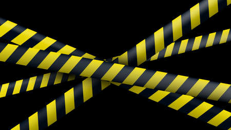Many Blank Black And Yellow Caution Tape On Black Background.