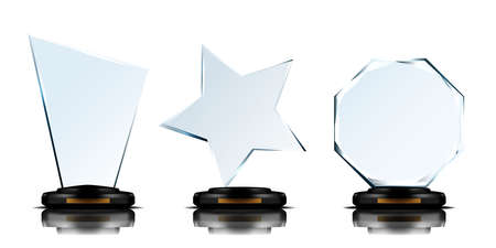 Realistic 3D Blank Glass Trophy Award Set.  Vector 向量圖像