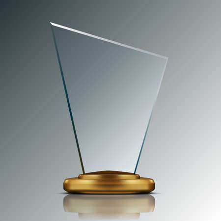 Realistic 3D Blank Glass Trophy Award.  Vector