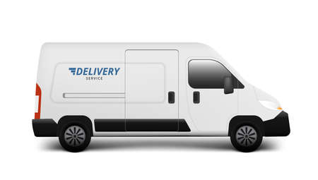 Abstract Delivery Service Truck Trolley Full Of Packages To Customer.  Vector
