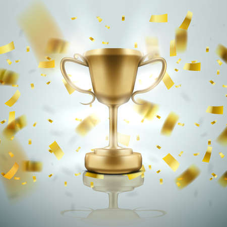 3D Realistic Championship Golden Cup With Falling Confetti On White Background.  Vector