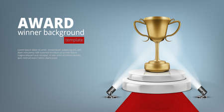 Winner Award On Illuminated Podium Round Stage.  Vector