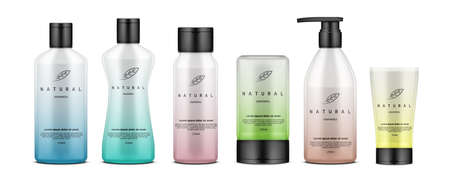 Realistic Cosmetic Bottles And Tubes With Modern Gradient Design. Cream, Lotion, Shampoo, Gel, Balsam And Conditioner.