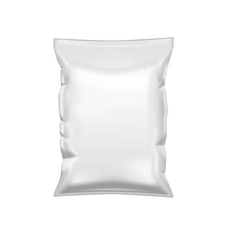 White Crumpled Packet Of Chips. Plastic Package Template.  Vector