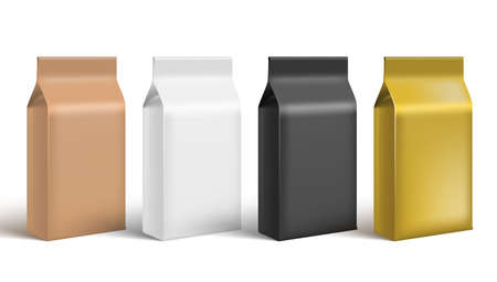 Brown, White, Black And Gold Craft Paper Bag Packaging On White Background.  Vector