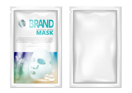 Facial Sheet Mask Sachet Package Isolated On White.  Vector