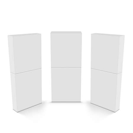 Three White 3D Halved Boxes.  Vector