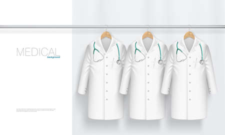 Medical Gown With Stethoscope On Hanger.  Vector