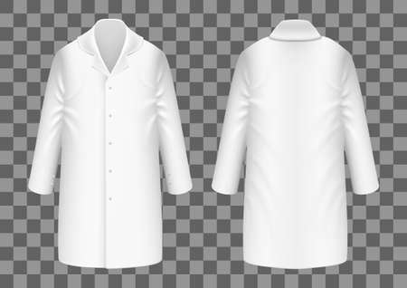 Realistic White Medical Lab Coat, Clinical Professional Suit.  Vector