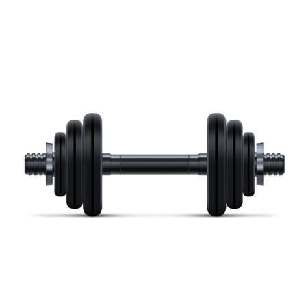 3D Black Rubber Metal Dumbbell Isolated On White Background.  Vector