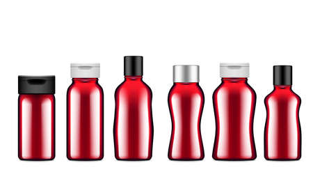 Glossy Bottles Of Ketchup Set Isolated On White Background.  Vector