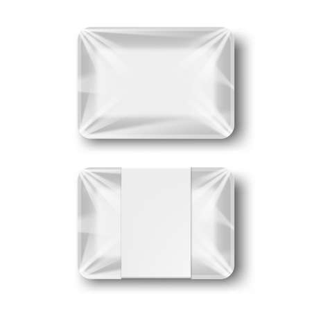 White Rectangle Blank foam Plastic Food Tray Container. With And Without Label.  Vector 向量圖像