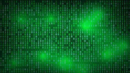 Stream Of Binary Matrix Hacker Code On 16x9 Full Screen.  Vector