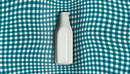 3D Milk Bottle Plaid Pocket Sweatshirt Blanket.  Vector