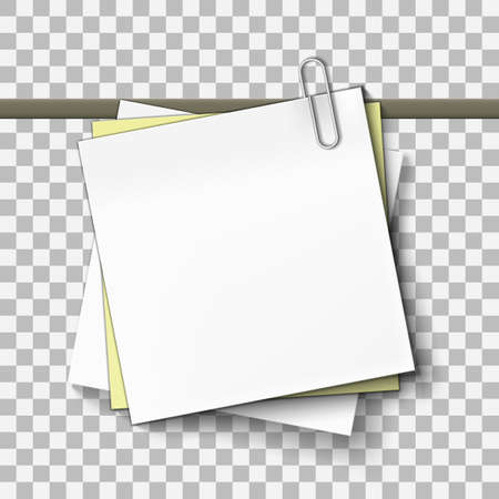 Yellow And White Sticky Note Sheet Of Paper On Metal Paper Clip.  Vector