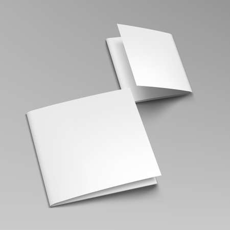 3D Blank Square Format Leaflet Or Catalog.   Vector