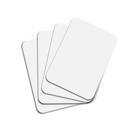 Four Blank Business Or Poker Cards Isolated On White Background.  Vector 向量圖像