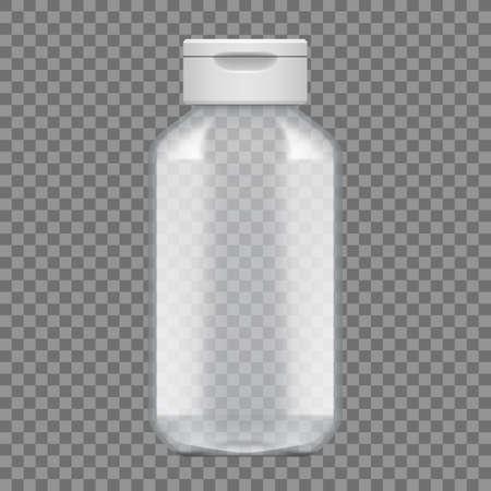 Shampoo Or Gel Empty Transparent Plastic Bottle Package. Vector