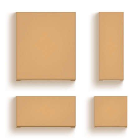 3D Brown Cardboard Craft Box Isolated On White