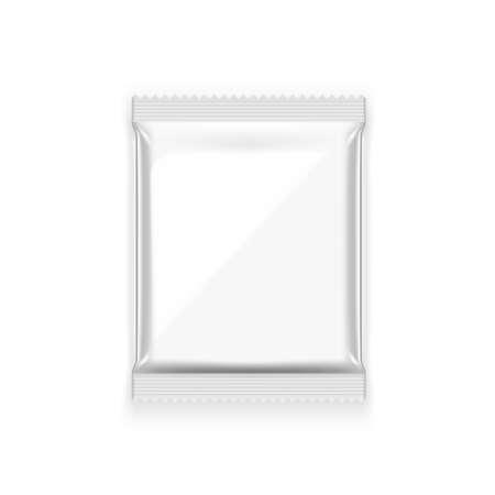 3D Blank Foil Food Snack Sachet Bag Packaging 矢量图像