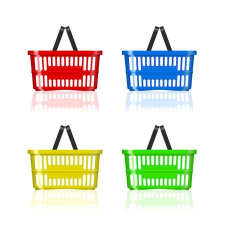 3D Red Plastic Supermarket Basket On White 矢量图像