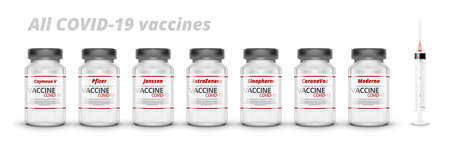 3D Bottles With All COVID-19 Vaccines And Syringe