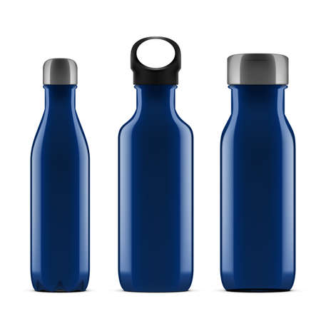3D Blue Glossy Metal Reusable Water Bottle Set