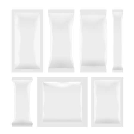 Various White Plastic Bag Package Set On White