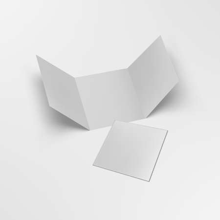 3D Open Blank Trifold Paper Square Leaflet