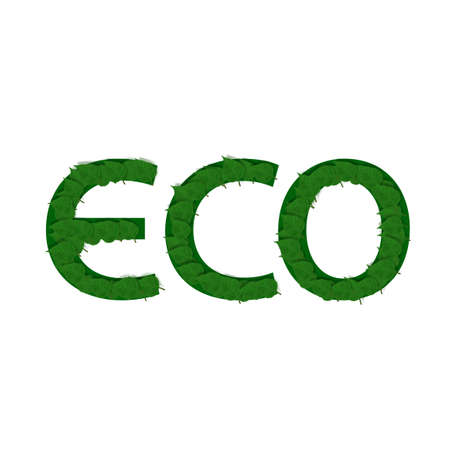 Realistic Green Leaves In ECO Text Shape