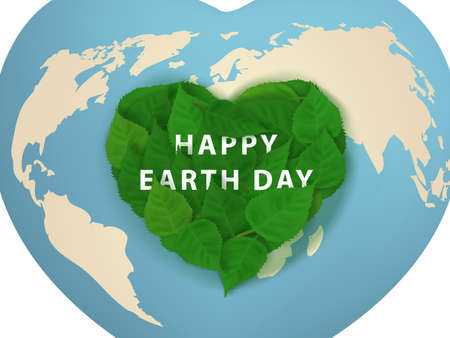 Happy Earth Day Card. Green Leaves In Heart Shape