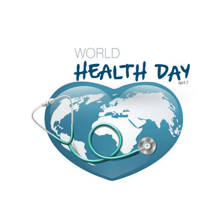 World Health Day With Medical Stethoscope On Earth Иллюстрация