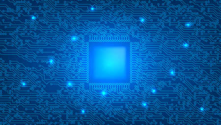 High-tech Digital Blue Circuit Board 2D Concept