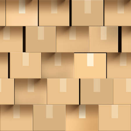 Wall Of Brown Cardboard Boxes Seamless Pattern