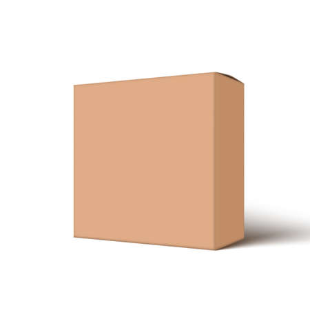 Clear Big Cardboard Box On White Background Иллюстрация