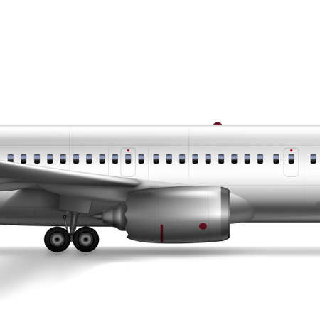 3D Blank Glossy White Airplane Or Airliner Turbine Иллюстрация