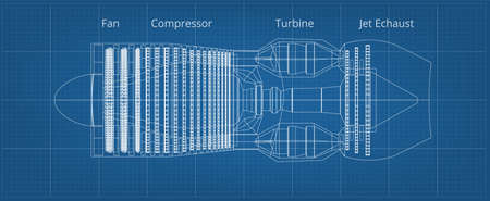 Commercial Airplane Jet Engine Blueprint Side View Иллюстрация